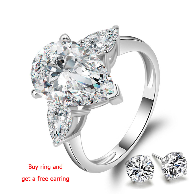 QYI 925 Sterling Silver Engagement Ring 5 Carat Pear Cut Superior Grade Zircon Bridal Rings White Gold Color Women Rings Gift