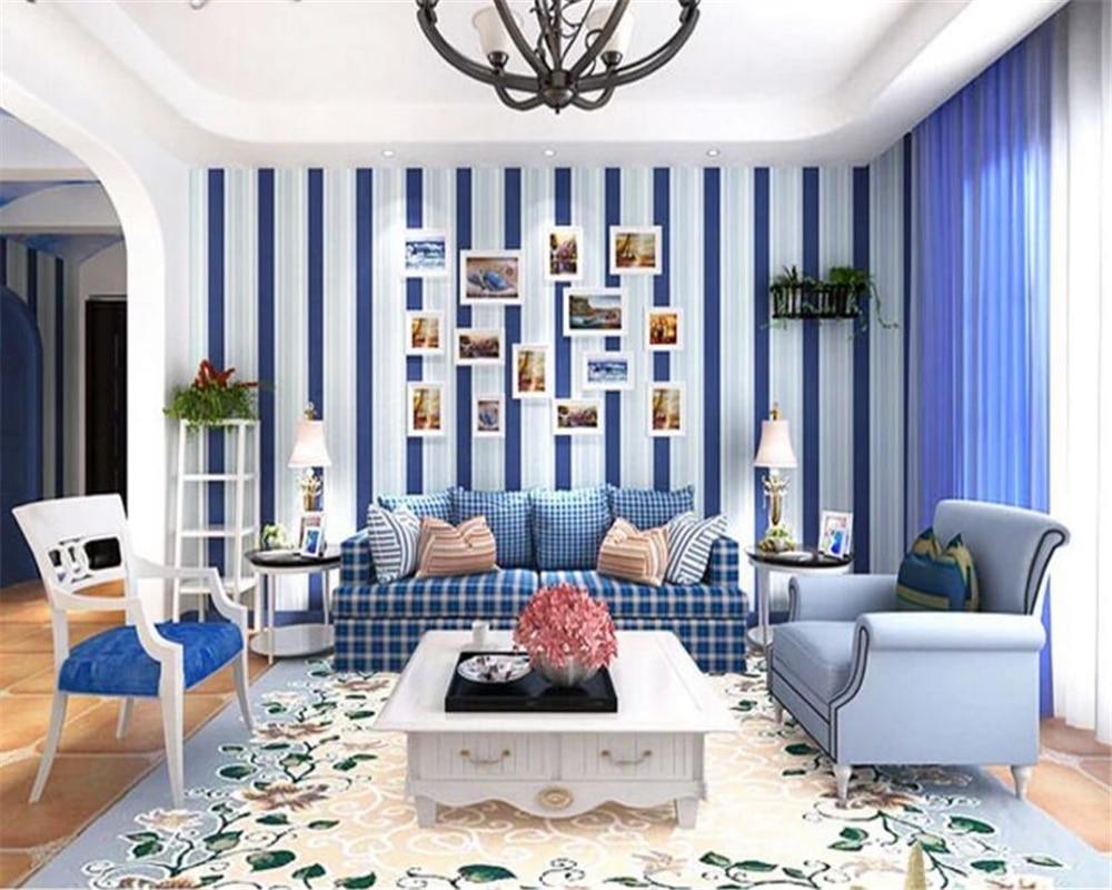 beibehang Fashion Mediterranean papel de parede Nonwoven Living Room Bedroom Modern Simple Pink Vertical Striped 3d Wallpaper beibehang  mediterranean blue modern
