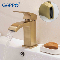 GAPPO Basin Mixer Tap bathroom basin faucet waterfall sink tap bath faucet gold brass mixer tap Single Handle Bathroom G1007 4