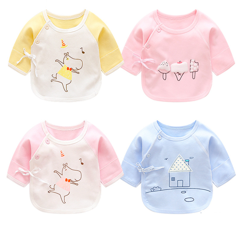 Luna Blanco NewBorn 0-3 Month Baby Girl Shirt Cotton Babies Shirts Basic Baby Clothes O-Neck Camisa Bebe Boy Open Stitch Shirts