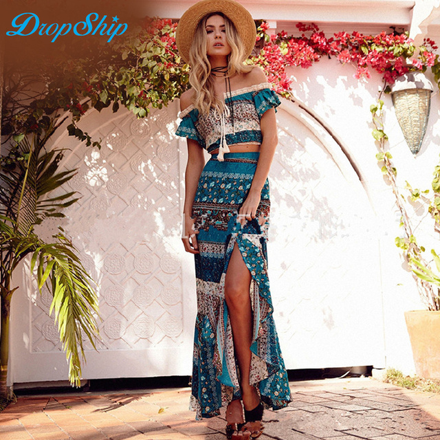 Dropship Two Piece Set Matching Sets Outfits For Women Skirt Sets Slash Neck Boho  Printing Short Tops And Long Skirts Beach