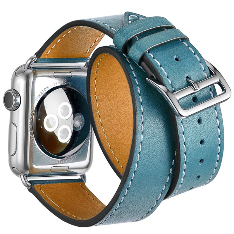 Genuine Leather Strap For iWatch 38mm 42mm Band Bracelet Replacement Wristband for Apple Watch Double Wrist 6 colors luxury genuine leather watchband for apple watch sport iwatch 38mm 42mm watch wrist strap bracelect replacement