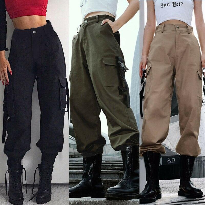 Womens Fashion Summer Casual High Waist Cargo Pants Hip Hop Dance Military Pockets Jogging Hiking Trousers Рубашка