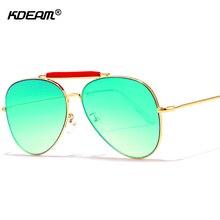 b73d47625 شيك شقة الأعلى النظارات الشمسية الرجال جسر مزدوج الطيار نظارات شمسية النساء  الذهب مكبرة مرآة kdeam