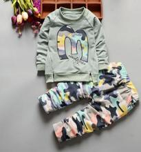 2019 Spring New Kids Clothing Set Child Boy Girl 1 2 3 4 Year Babys set Letter Pullover+camouflage Trousers 2Pcs/set QHQ074