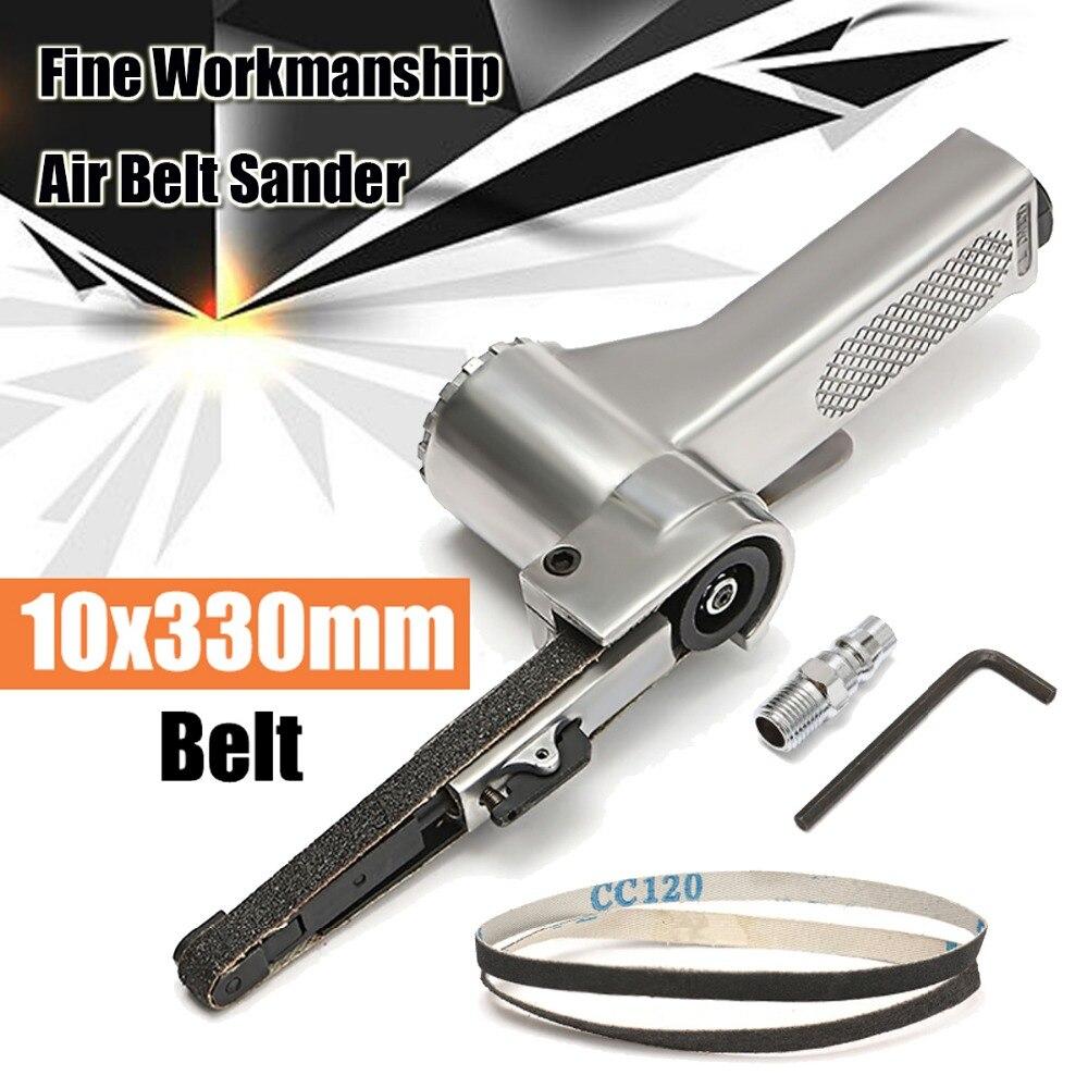Air Belt Sander For Air Compressor Sanding With Sanding Belt Pneumatic Tools For Woodworking Furniture Polishing Steel Silver