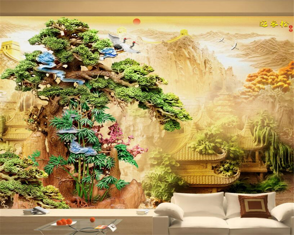 beibehang papel de parede 3D boutique wood carving pine palace Chinese style backdrop wall paper home decor 3D Wallpaper Mural beibehang modern luxury circle design wallpaper 3d stereoscopic mural wallpapers non woven home decor wallpapers flocking wa