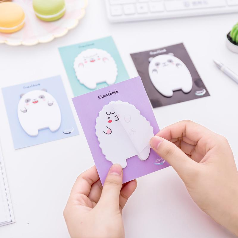4 Pcs Small Bear Sheep Sticky Notes Kawaii Post Memo Pad Self-adhesive Sticker Office Supplies Material Escolar