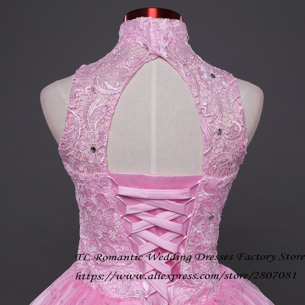 ④Envío Gratis cuello alto Encaje Rosa Vestidos de novia vintage ...