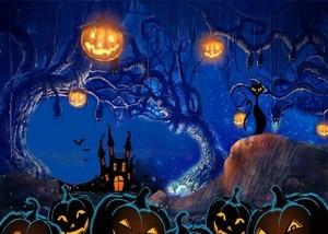 Image 2 - DePhoto fotografía de fondo de dibujos animados Halloween Contexto general Castillo fotografía telón de fondo Halloween calabaza de fondo