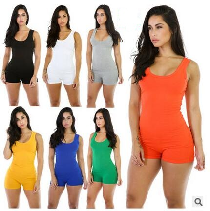 New 2019 Summer Sexy Casual Bodysuit Rompers  Slim Sleeveless Backless Bodycon Sportswear Jumpsuits Cotton Threaded piece shorts
