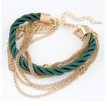 Popular Jewelry Low key Luxurious Metal Chain Braided rope Multilayer bracelet Anklets for women price