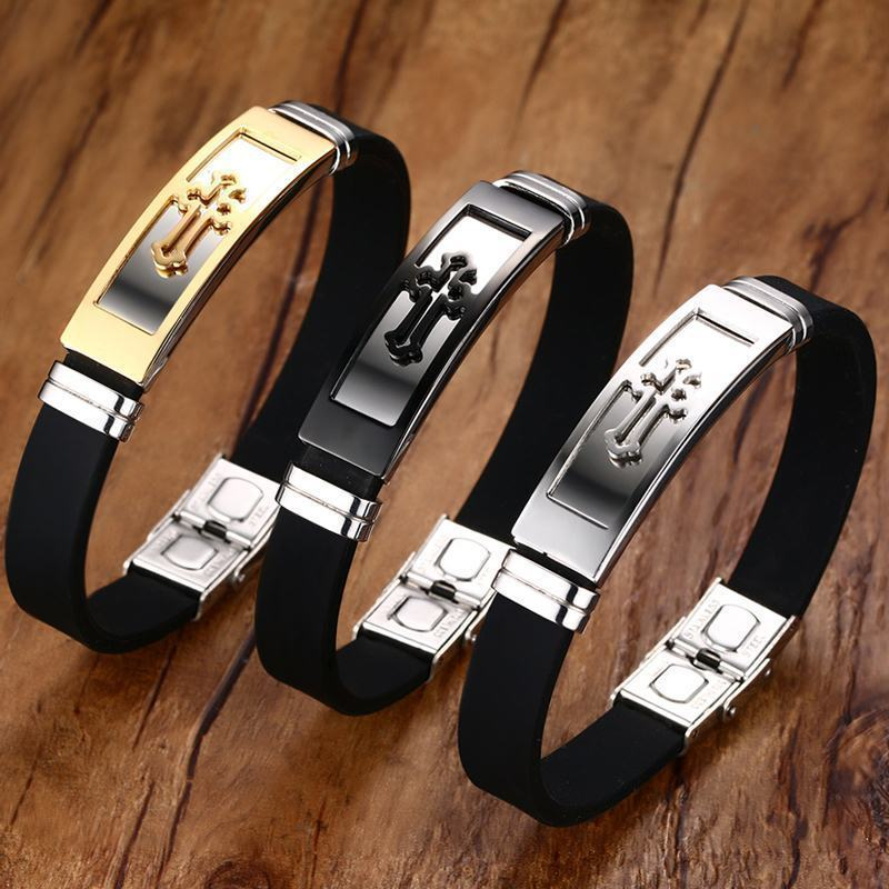 Gold Tone Cross Cuff Bracelet for Men Black Rubber Bracelets Bangles Male Prayer Armhand Jewelry 8″