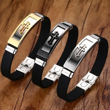 Gold Tone Cross Cuff Bracelet for Men Black Rubber Bracelets Bangles Male Prayer Armhand Jewelry 8""
