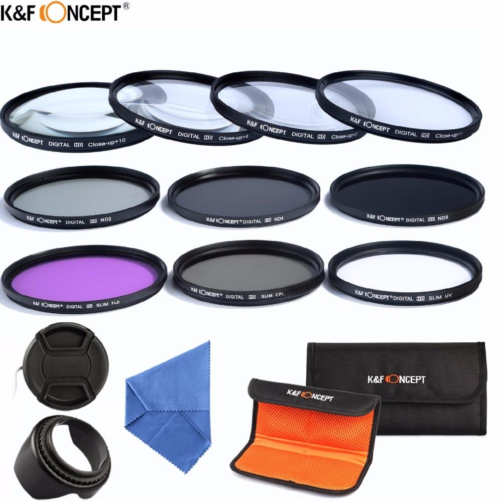 K & F KONZEPT 58mm Macro Close-up + 1 + 2 + 4 + 10 Set + UV CPL FLD ND 2 4 8 Kamera Objektiv Filter Kit + Lens Hood + Lens Cap für Canon Rebel EOS