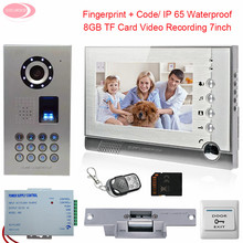 "7"" Color Monitor Video Door Phone Intercom With Recording Outdoor Fingerprint Keyboard Doorbell With Electric Lock +8GB SD Card"