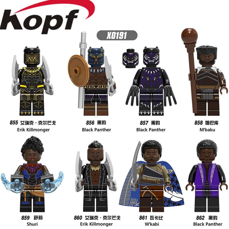Single Sale Building Blocks Super Heroes Black Panther Shuri Erik Killmonger M'baku W'kabi Figures For Children Gift Toys X0191
