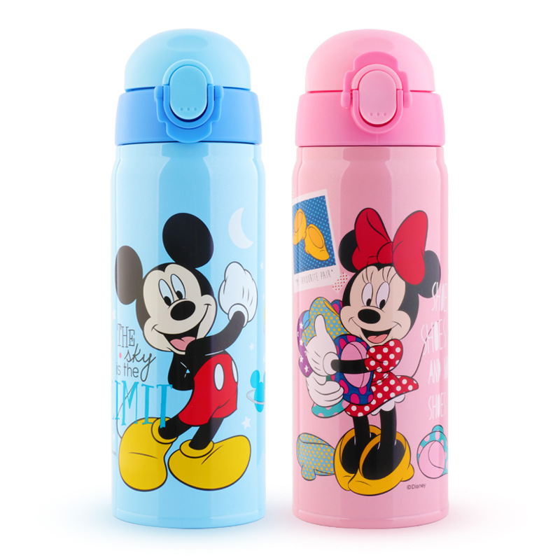 a8b38e41d 450ML Baby Straw Insulated Bottle Mickey Minnie Thermos Water Cup Feeding Kids  Children 304 Stainless Steel Bottles Thermal Cup