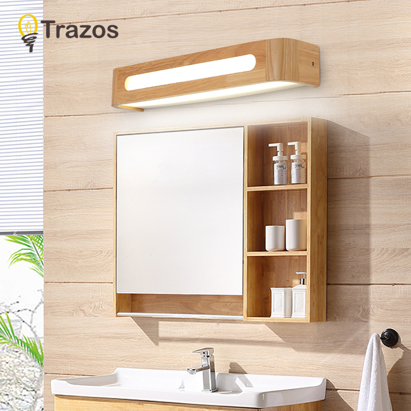 TRAZOS WoodenLED Wall Lamp Wall light 6W 8W LED Mirror Front Wall Lights dresser Modern Brief Bathroom Dresser lamp Vanity Light цена