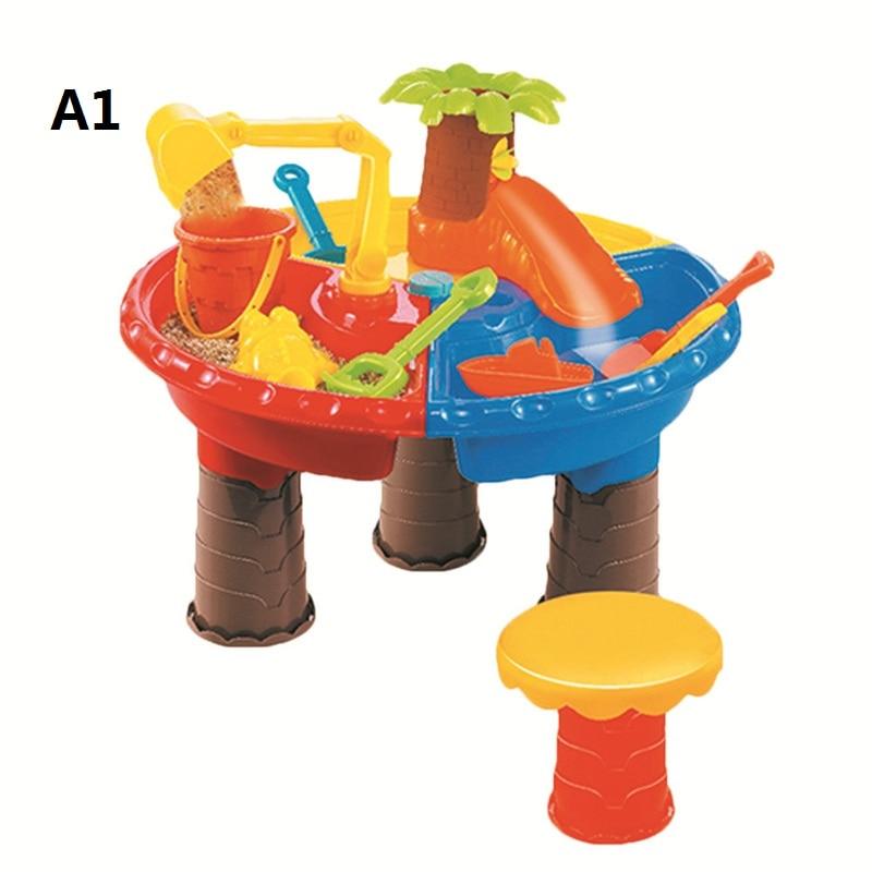 Sand Water Play Table , Kids Beach Play Set Toys Garden Sandpit Sandbox Desk Toddler Aquatic Arena Activity Play Set Boys Girls