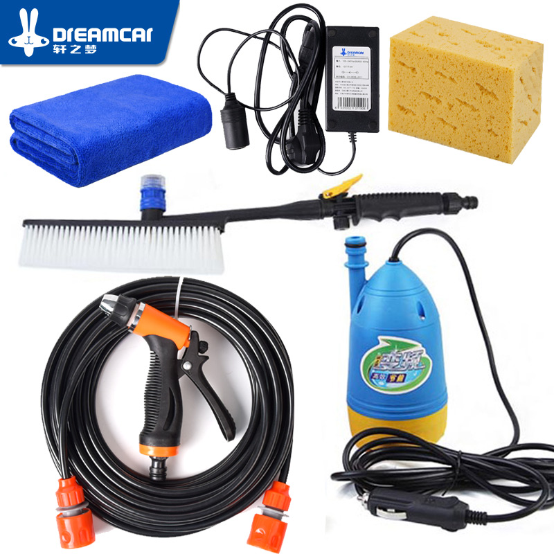 High Pressure Self-priming Electric Car Washer Washing Pump 12V Washing Machine Car Cleaner + Car Cleaning Brush+Converter 0 75kw self priming water pump for high rise wells in the river lake 220v household jet garden pump 4 5m3 h big capacity