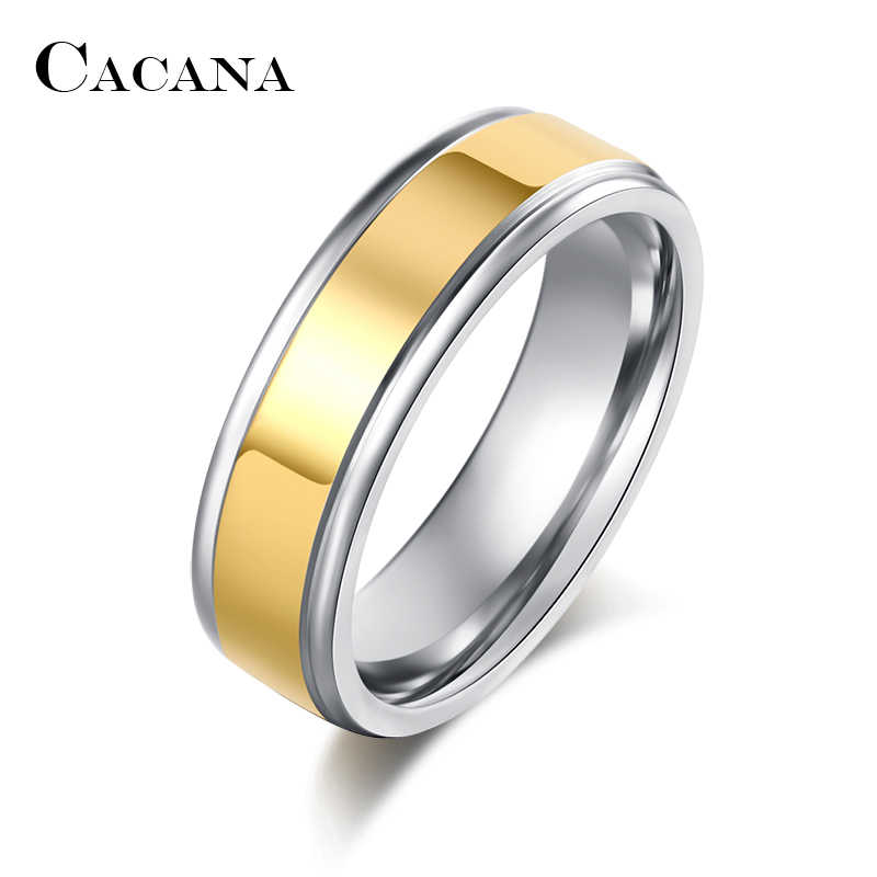 CACANA  Stainless Steel Rings For Women  Trendy Wedding Ring Personalized Custom Fashion Jewelry Wholesale R200