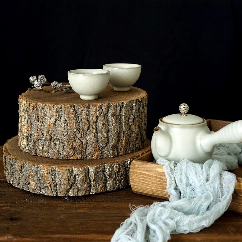 Lod Wood Cake Tray Wedding Cupcake Plates With Tree Bark Fruit Ma Caron Cake Display Wood Tray For Photo Props Home Baking Tools