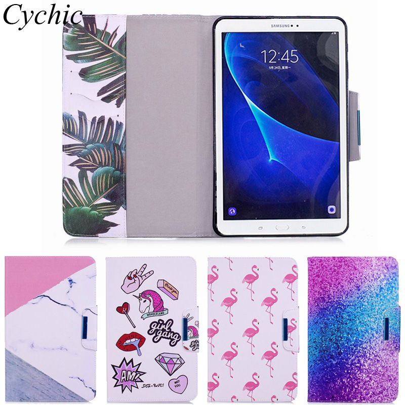 Cychic For Samsung Galaxy Tab A 10.1 (2016) T580 T585 Cover Case Fashion Kids Girls Folio PU Leather Tablet Shell Protector