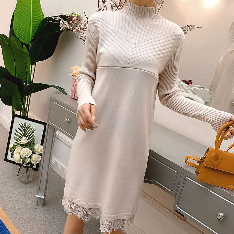 Winter new knitted wool out invisible breastfeeding stitching lace pregnant women breastfeeding dress sweater thai tide brand cape style fairy layer tassel stitching slim dress hollow out mesh lace stitching fringed champagne dress white
