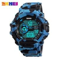 SKMEI Men Wrist Watches Waterproof Outdoor Sport Watch for Men Fashion LED Display Digital Wristwatches Mens Military Watch Blue