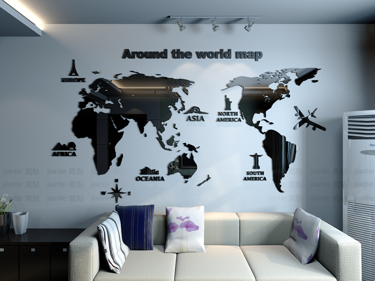 New arrival world map creative household office acrylic 3d three dimensional wall stickers living room