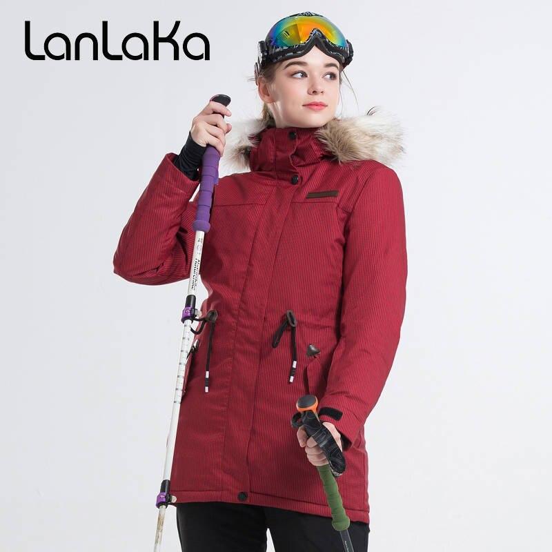 LANLAKA Women Ski Jacket Winter Clothing Fur Hooded Waist Rope Jacket Super Warm Windproof Waterproof Outdoor Sport Wear Jacket