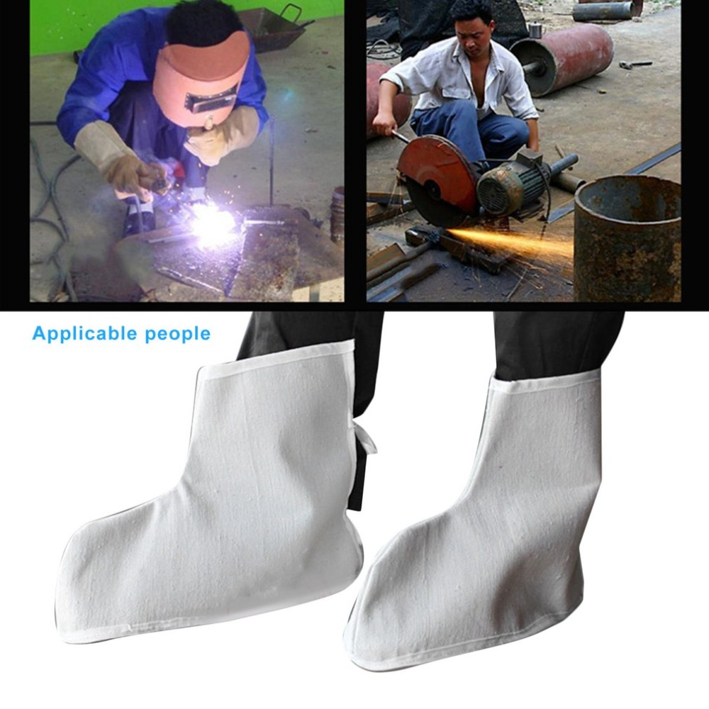 1 Pair Canvas Foot Covers Welding Protective Shoes Covers Fireproof Heat Insulation Feet Safety Covers for Welder covers