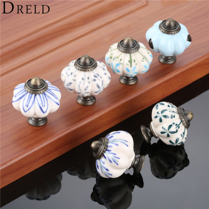 Ceramic Kitchen Cabinet Handles Drawer Pull Knobs Antique: DRELD 38*33mm Antique Pumpkin Cabinet Knobs European