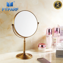 FYPARF 3x Magnifying Mirror Makeup Shave 8 Dual Side Round Shape Circular Rotating Antique Brass Desk Stand Mirrors Tool
