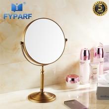 FYPARF 3x увеличительное зеркало для макияжа Бритья 8 «двойной сбоку круглый Форма круговой вращающийся античная латунь настольная подставка зеркала инструмент