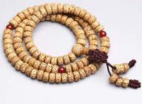 בודהי לוטוס טבעי מקורי BRO645 מחרוזת תפילה הבודהיסטי Mala תפילה 108 חרוזים 8*5 מ