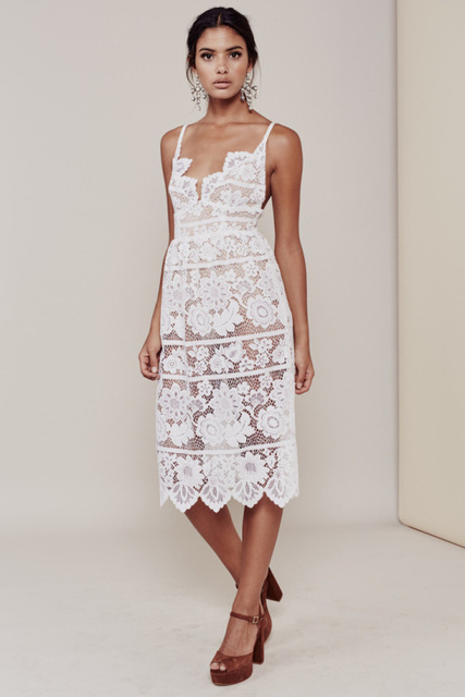 Women Love GIANNA DRESS White Plunging Neckline Barely-there Seamless Spaghetti Strap Teardrop Lace Midi Dress