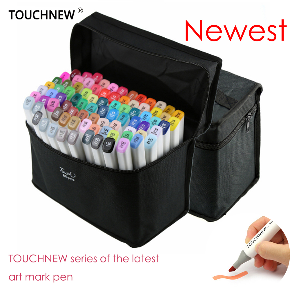 2017 TOUCHNEW 60/80 Colors Artist Dual Headed Marker Set Animation Manga Design School Drawing Sketch Marker Pen Art Supplies touchnew 80 colors artist dual headed marker set animation manga design school drawing sketch marker pen black body