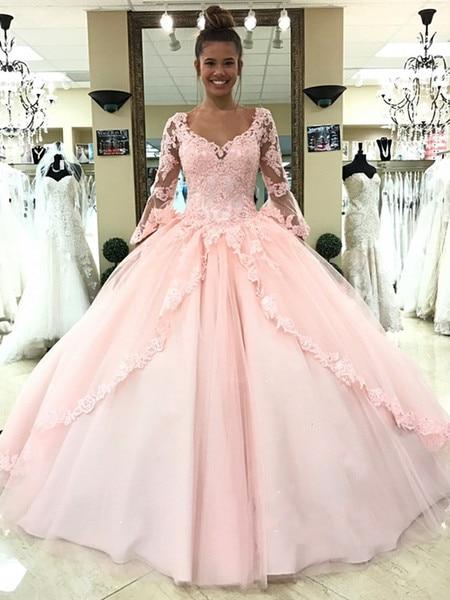 2019 Ball Gown Quinceanera Dresses Light Pink Sky Blue Princess Sweet 16 vestidos de 15 debutante Flare Sleeves Birthday Party