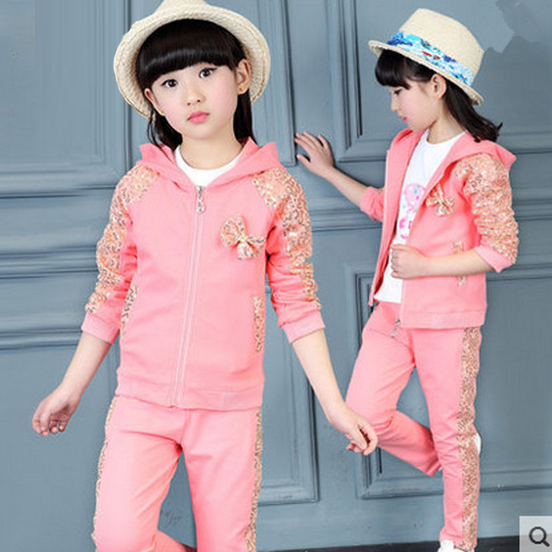 2017 new Spring and autumn Girls Clothing set 3pcs/set baby girls casual cotton suit Long sleeve T-shirt+coat+pant tracksuits