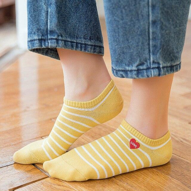 b66ca9b4c New Cotton Embroidery Women Socks High Quality Soft Comfort Ankle Socks  Fashion LOVE ME Red Heart Stripe Socks