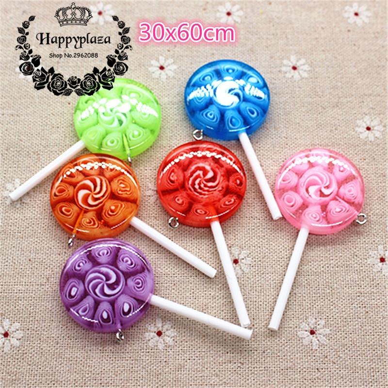 5pcs Mix Colors Kawaii 3D New Design Resin Candy Lollipop Miniature Food Art Supply DIY Craft Decoration,30*60mm