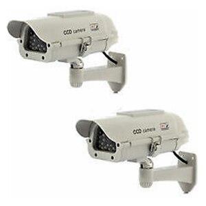 Image 2 - MOOL 2 pcs חיצוני Dummy מצלמה חדש דיור Dummy אבטחת מצלמה שמש כוח לבן LED אלחוטי IR מעקב Dummy Securit