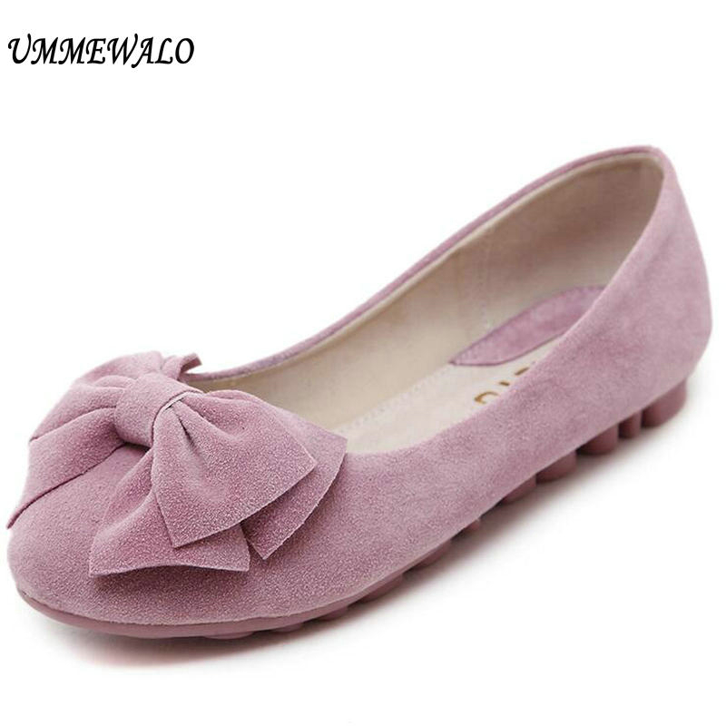 UMMEWALO Shoes Women Soft Real   Leather   Flats Casual Loafer Shoes Ladies Rubber Sole Driving   Suede   Moccasin Casual Loafer