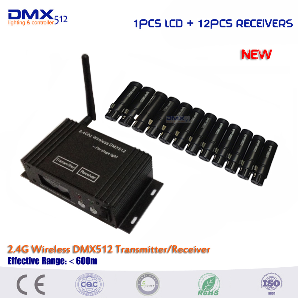 DHL free shipping 2.4Ghz LCD Display Wireless DMX512 Receiver & Transmitter,DMX512 Wireless Controller for Stage Wifi Par light wireless buzzer system k 236 o1 g h for restaurant with 1 key call button and display receiver dhl free shipping