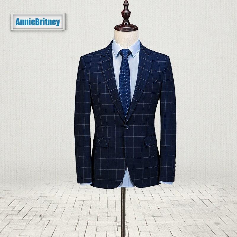 2017 Latest Coat Pant Designs Navy Blue Pattern Men Suit Prom Blazer Slim Fit 3 Piece Style Suits Custom Groom Tuxedo Masculino