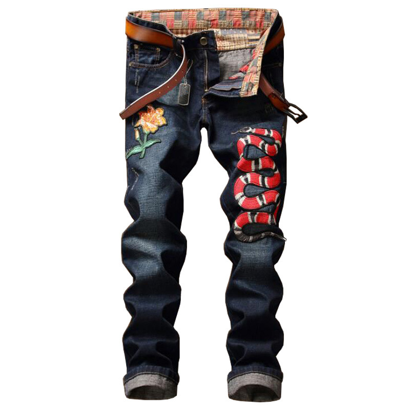 New Mens clothing design Embroidered Floral Slim Fit Snake Denim Jeans Chic Men Animal Pattern Punk Straight Biker Jeans