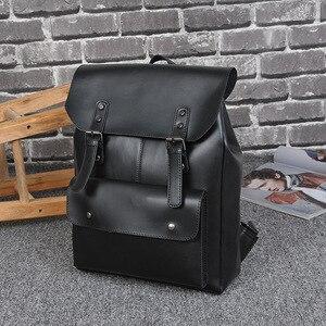 Image 4 - 2019 Multifunction Men Backpack Crazy horse Leather Women School Bag Vintage Backpack for Teenage Boys bookbag Laptop Travel Bag