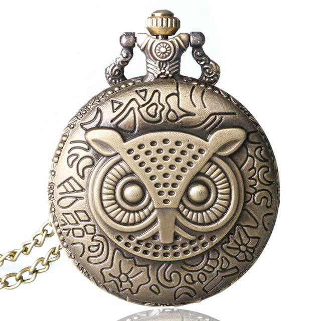 Bronze Copper Vintage Retro Owl Pattern Quartz Pocket Watch Clock Hour Time Necklace With Chain Men Women Christmas Gifts P02